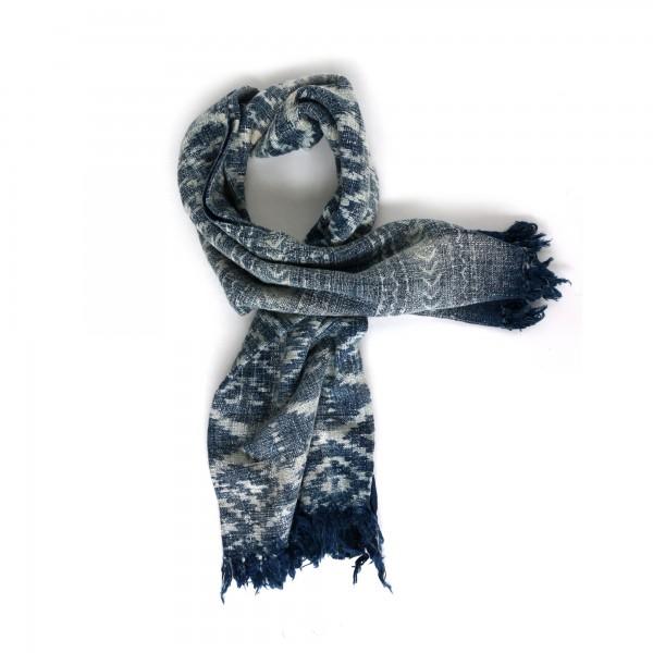 Throw 'Udupi', dunkel blau, weiß, T 125 cm, B 170 cm