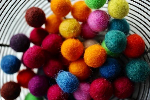 Filz-Ponpons, multicolor, Ø 15 mm