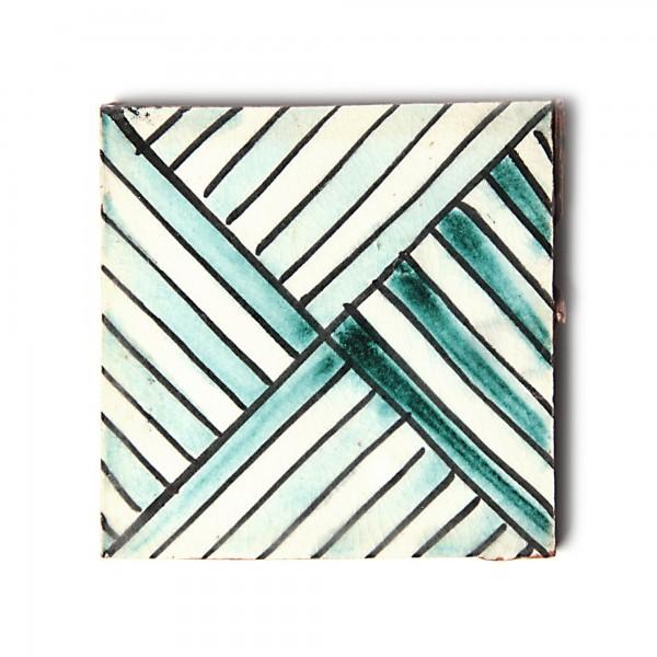 "Fliese ""Broderie"", grün/weiß, L 10 cm, B 10 cm, H 1 cm"