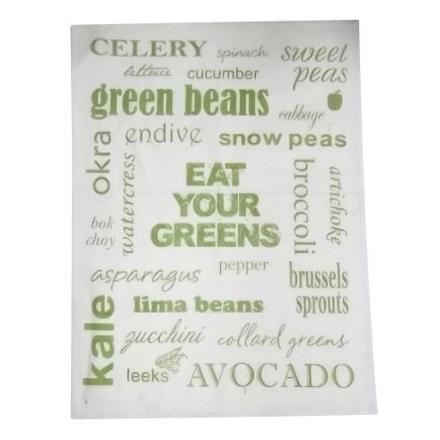 """Geschirrtuch """"Eat your greens"""", weiß/grün, L 70 cm, B 50 cm"""