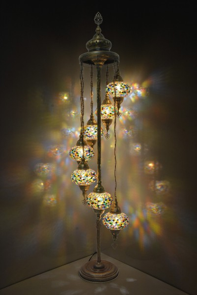 Mosaikstehlampe 'Lumine' 7in1, multicolor, T 25 cm, B 25 cm, H 160 cm