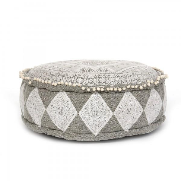 Sitzpouf 'Amreli', grau, weiß, Ø 60 cm, H 20 cm
