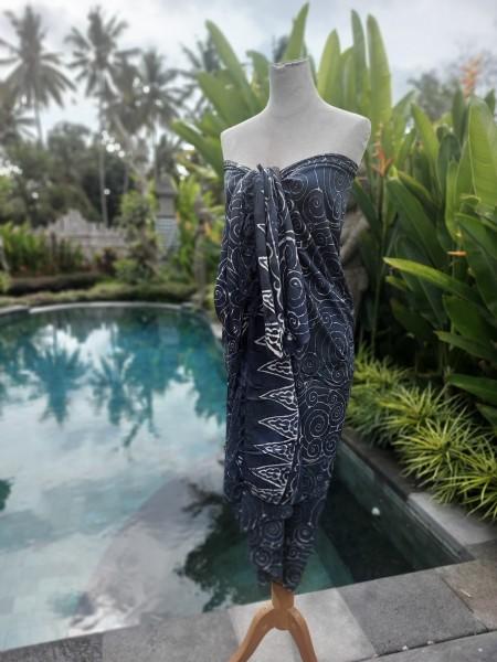 Sarong mit Kokosnuss-Schnalle Batik, blau, weiß, T 115 cm, B 225 cm