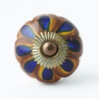 "Türknauf ""Blume"", braun/blau, Ø 4 cm"