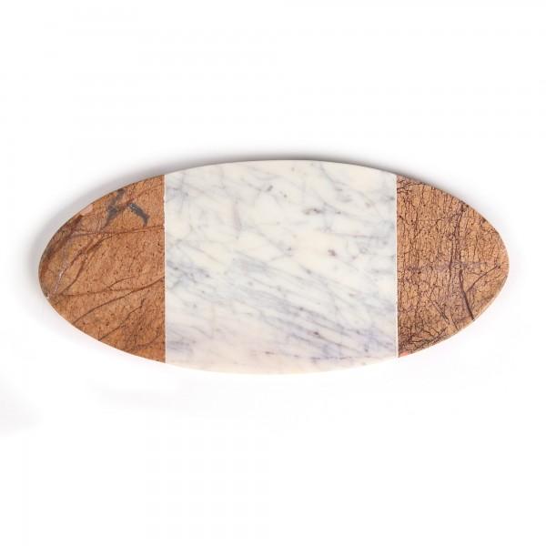 Schneidebrett oval, weiß, hellbraun, T 14 cm, B 30 cm