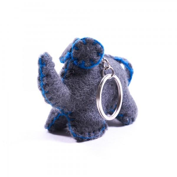"""Schlüsselanhänger """"Elefant"""", aus 100% Schafswolle, grau"""