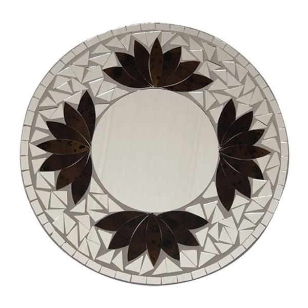 """Mosaik-Spiegel """"Lotus"""", weiß/braun, Ø 30 cm"""
