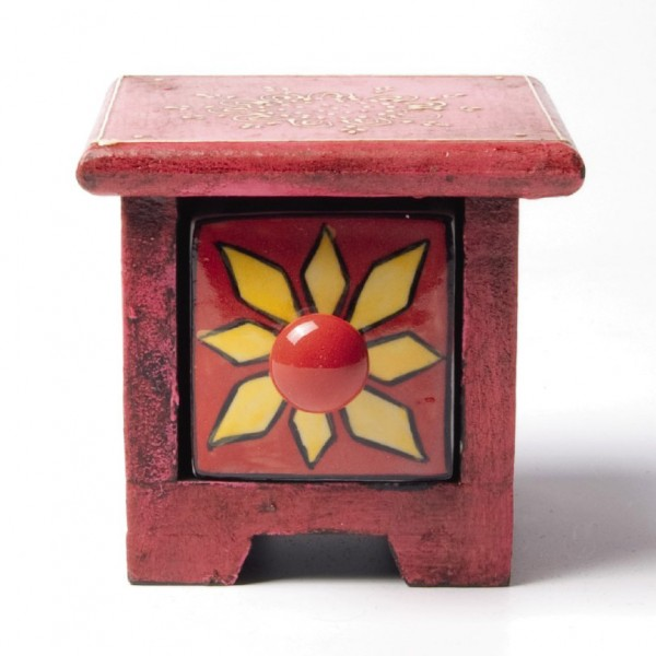 Schmucktruhe mit Schublade, rot, L 10 cm, B 10 cm, H 9 cm