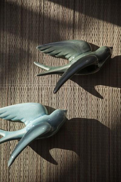 Keramikschwalbe S, dunkelgrün, T 12 cm, B 16 cm, H 7,5 cm