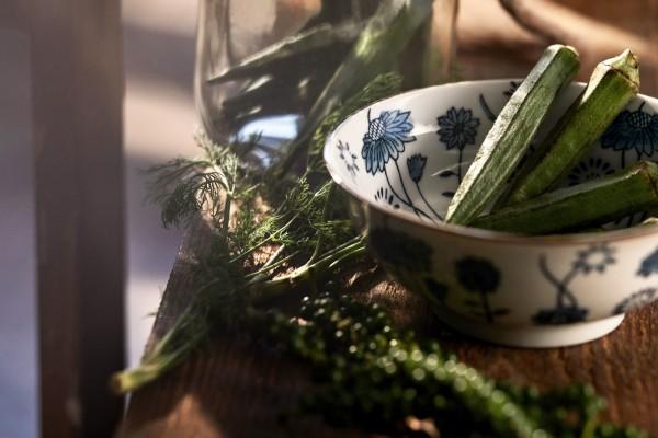 Suppenschale 'Blumenmuster', weiß, blau, H 6,5 cm, Ø 15,5 cm