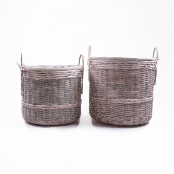 Bambuskorb mit Henkeln, natur, verschiedene Größen