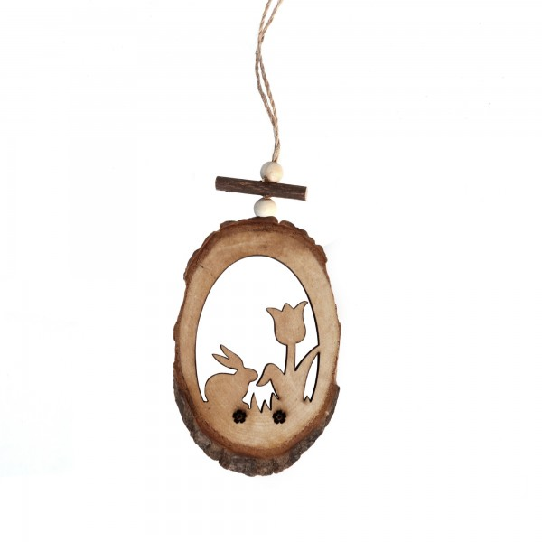Holzanhänger Tulpe/Hase, braun, T 0,7 cm, B 7 cm, H 20 cm