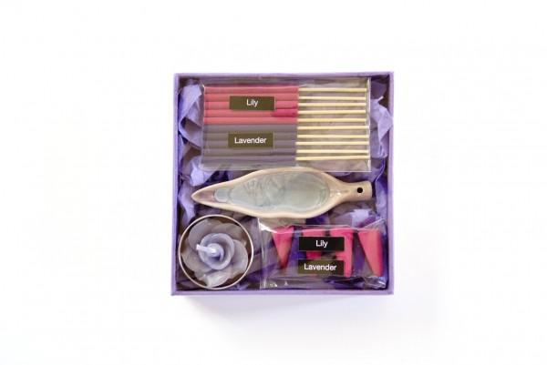 Räucher-Box mit Kerze, blau, T 12 cm, B 12 cm, H 3 cm