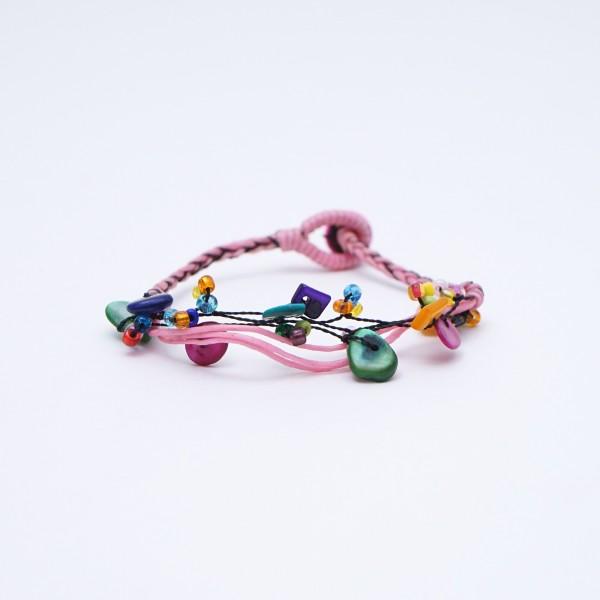 Armband 'Penny', handgefertigt, pink, multicolor