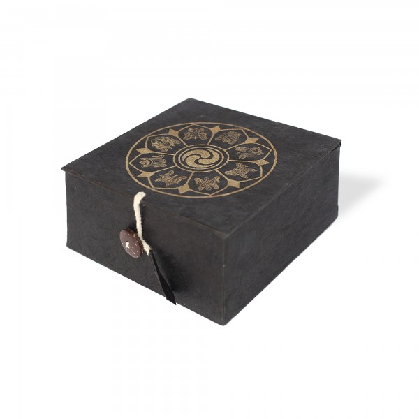 Lokta Box Glückssymbole, schwarz, gold, T 11 cm, B 11 cm, H 5,5 cm