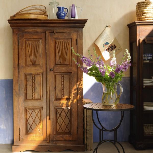 Schrank aus massivem Mangoholz, braun, T 40 cm, B 90 cm, H 150 cm