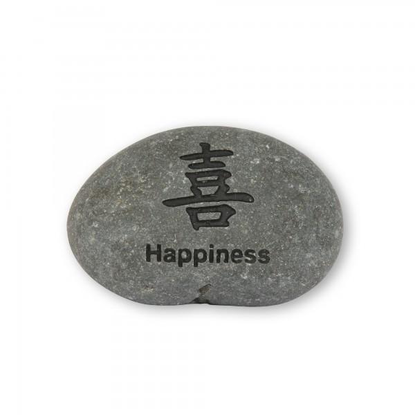 Flusskieselstein 'Happiness', grau, T 8 cm, B 8 cm