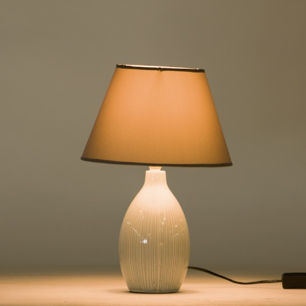 Tischlampe 'Blanchette', grau, Ø 25 cm, H 38 cm