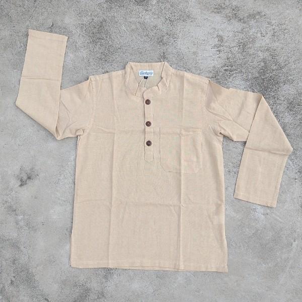 Langarmshirt mit Knopfleiste beige 'Kura' XL, Beige, T 77 cm, B 64 cm