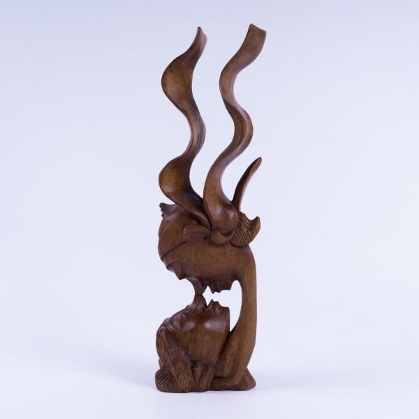 """Abstrakt """"Zwei Gesichter"""", natur, H 35 cm"""