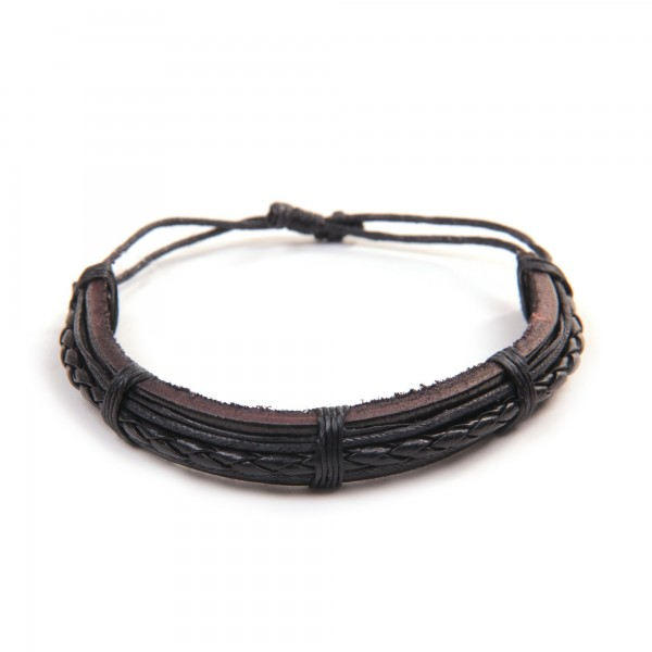 "Armband ""Cody"", aus Leder, schwarz"
