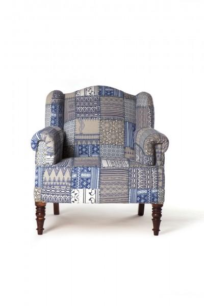 Sessel 'Patch Maharaja', blau, beige, L 60 cm, B 80 cm, H 90 cm