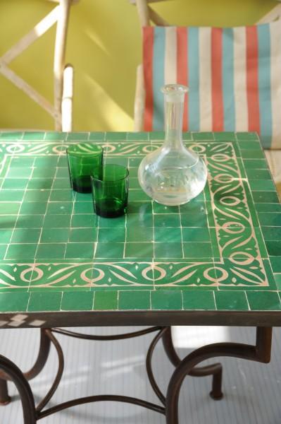 Mosaiktisch, grün, L 70 cm, B 70 cm, H 73 cm
