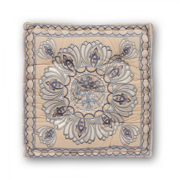 Sitzkissen Lotus, beige, blau, T 60 cm, B 60 cm, H 10 cm