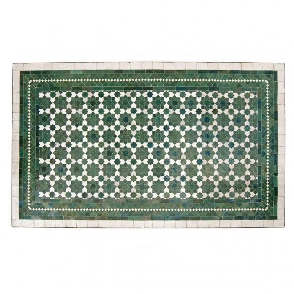 Mosaiktisch, grün/weiß, L 120 cm, B 70 cm, H 73 cm