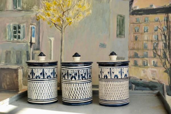 Zierbehälter, blau, weiß, Ø 10 cm