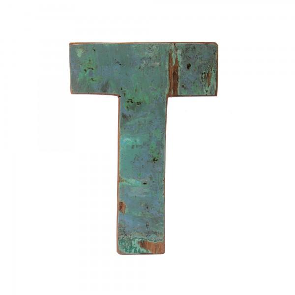 Holzbuchstabe 'T', mehrfarbig, T 2,5 cm, B 13 cm, H 19 cm