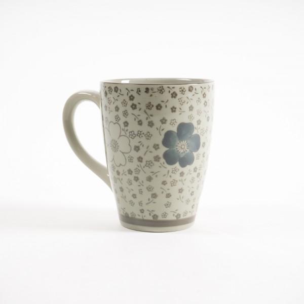 """Tasse Gordes """"Braune Blüte"""", weiß/braun, H 12 cm, Ø 9,5 cm"""
