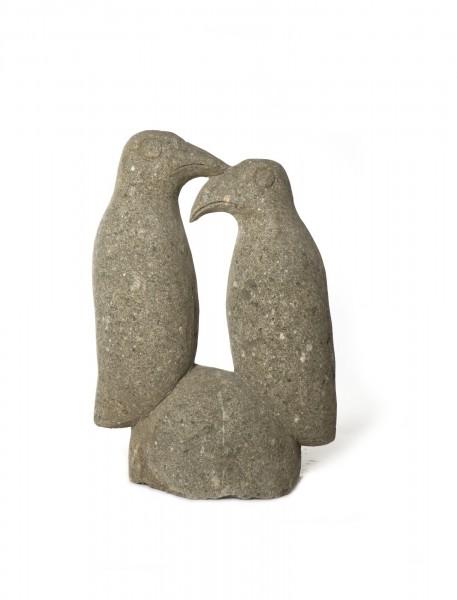 Vogelpaar, grau, T 28 cm, B 40 cm, H 69 cm