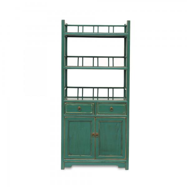 Bücherregal, 2 Schubladen, 2 Türen, türkis, T 33 cm, B 60 cm, H 130 cm