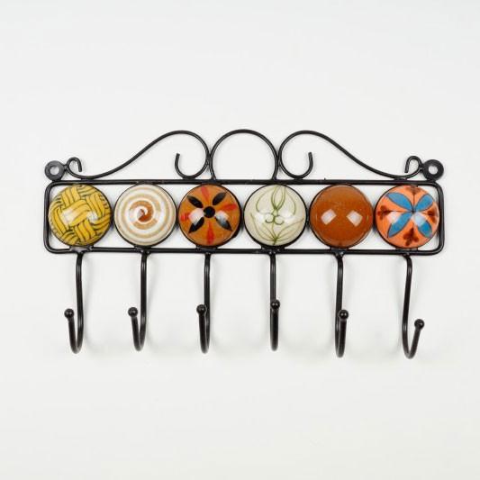 Wandhaken 6fach, handglasiert, L 4,5 cm, 27 cm, H 15 cm