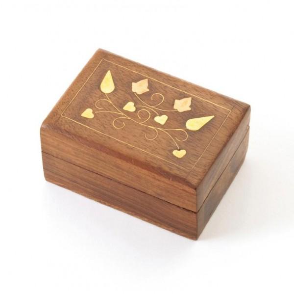 Minitruhe mit Messingintarsien, braun, L 5 cm, B 7,5 cm, H 4 cm