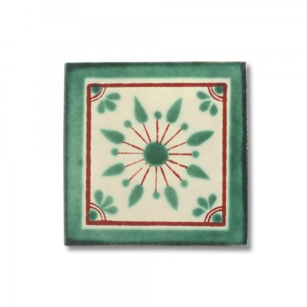 Kachel 'Estrella', grün, T 10 cm, B 10 cm, H 0,5 cm