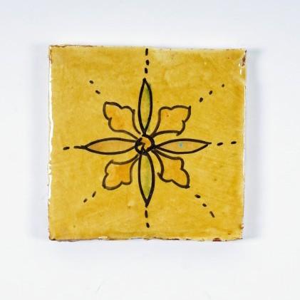 "Fliese ""fleur caree"", gelb, L 10 cm, B 10 cm, H 1 cm"