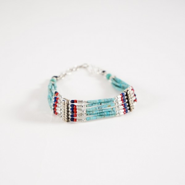 Armband, 6-strangig, türkis