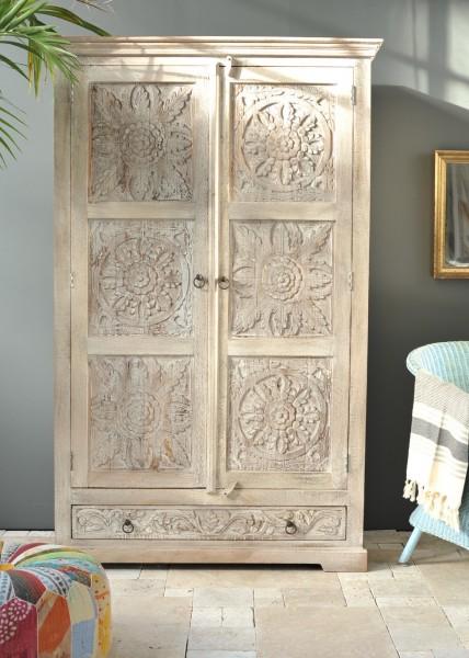 Kleiderschrank 'Germois', natur, weiß gekälkt, T 57 cm, B 120 cm, H 190 cm