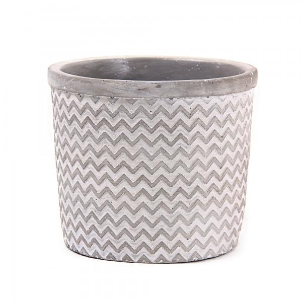 Übertopf 'Cuite', grau, white-wash, Ø 15 cm, H 13 cm