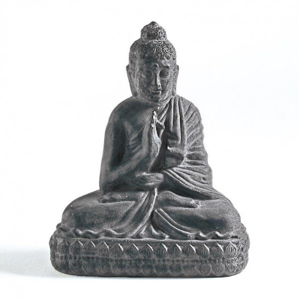 Sitzender Buddha aus Ton, grau, L 24 cm, B 38 cm, H 47 cm
