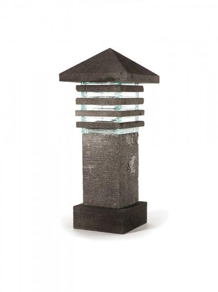 Lavasteinleuchte 'Showa', grau, T 26 cm, B 26 cm, H 64 cm