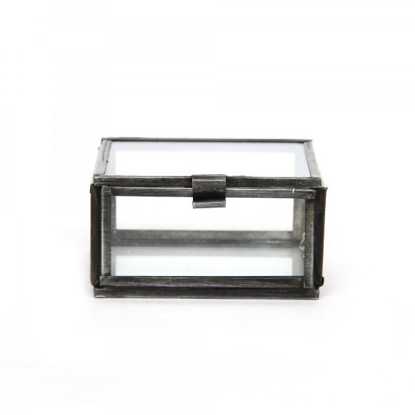Glasschatulle M, dunkelgrau, T 7 cm, B 7 cm, H 4 cm