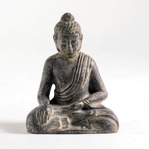 sitzender Buddha aus Ton, grau, L 15 cm, B 23 cm, H 31 cm