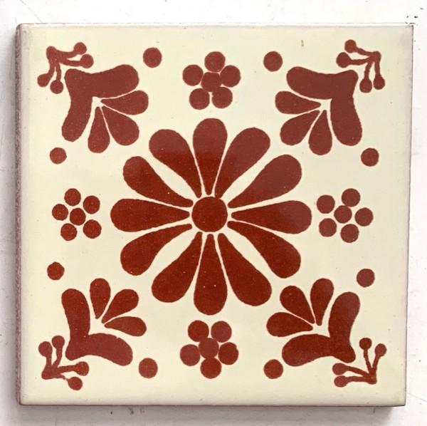 Kachel 'Xico', weiß, rot, T 10 cm, B 10 cm, H 0,5 cm