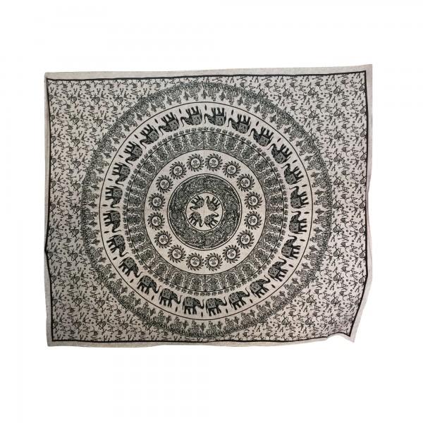 """Tagesdecke """"Mandala"""", aus 100% Baumwolle, schwarz/beige, L 210 cm, B 245 cm"""