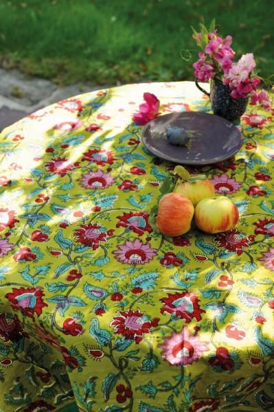 Tischdecke, mint, floral, T 150 cm, B 220 cm
