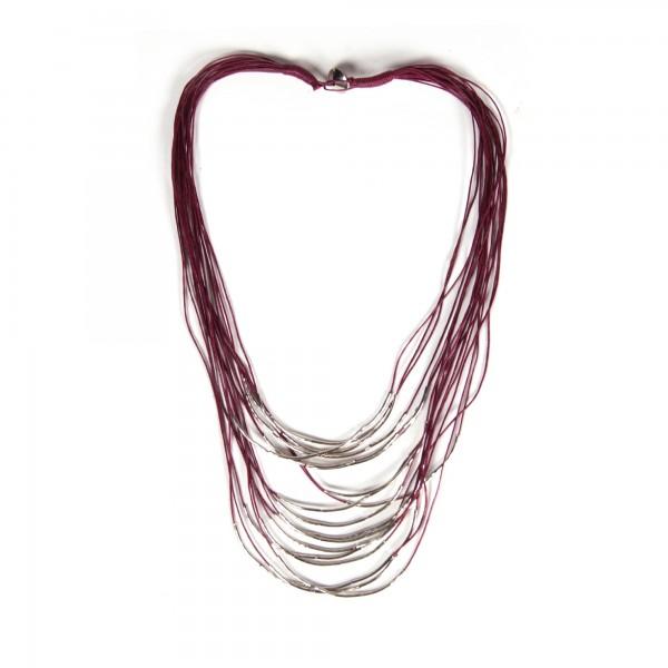 Halskette, rot/silber
