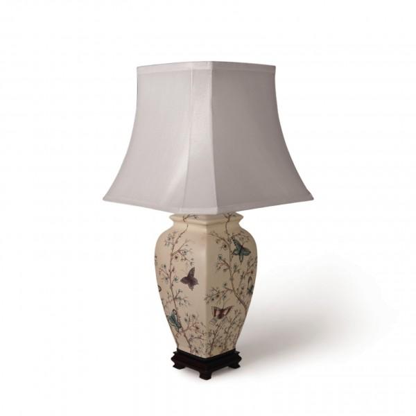 """Keramikleuchte """"Dazu"""", multicolor, Schirm weiß, H 64 cm"""